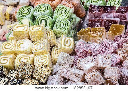 Turkish delights Rahat lokum, sweet traditional food.