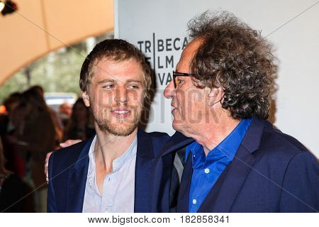 NEW YORK, NY - APRIL 20: Actors Johnny Flynn and Geoffrey Rush attend the 'Genius' Premiere during the 2017 Tribeca Film Festival at BMCC Tribeca PAC on April 20, 2017 in New York City.