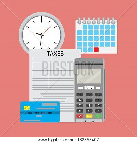 Time pay tax. Payment tax with machine terminal. Vector illustration