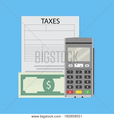 Finance tax form banknote cash and credit card machine vector illustration