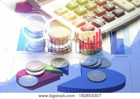 conis and calculator on finance paper concept in loan account and growth of business