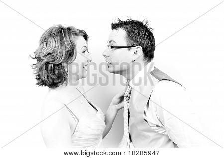 Young Beautiful Happy Couple Surprised