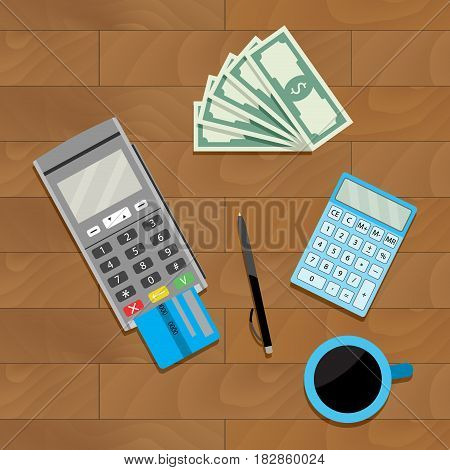 Calculate and pay. Investment economy money invest and payment vector illustration