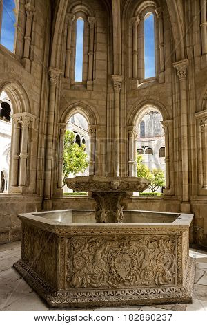 Fontaine in Alcobaca monastery is Medieval Roman Catholic Monastery, Portugal