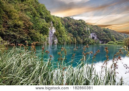 Croatia. Plitvice lake sunset landscape natural view