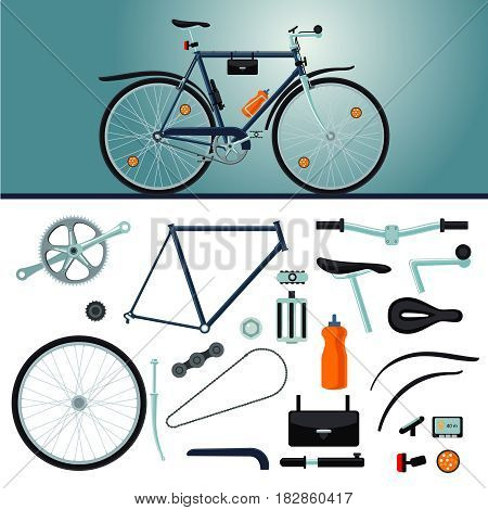 Realistic bike. Bicycle parts isolated on white. Icons set.