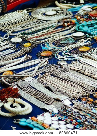 Beautiful Jewelry on street market in Asia poster