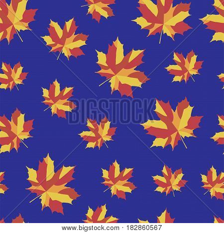 Bright maple leaves on blue background. Seamless  pattern. Vector illustration for your design project