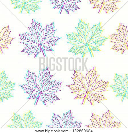 Maple leaves in CMYK colors on white background. Bright vector seamless pattern for your design project.
