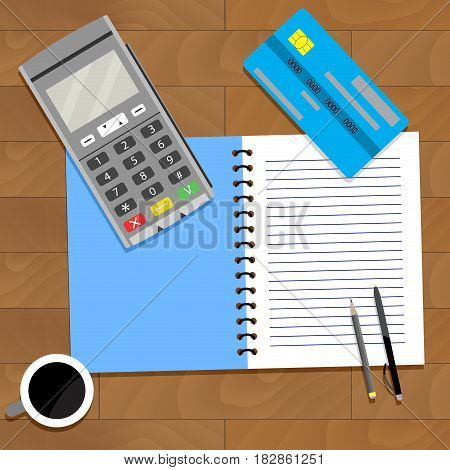 Business paying finance accountancy personal coffee and notebook vector illustration