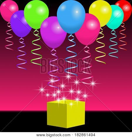 Bright balloons ribbons and gift box with spangles and flashes. Background for holiday party or celebration. Vector illustration EPS10