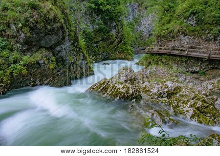 Flowing river, Vintgar Gorge, Slovenia