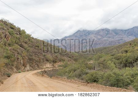 The gravel road between the Cango Caves and Calitzdorp in the Western Cape Province
