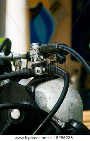 Scuba diving equipment , tank and regulator