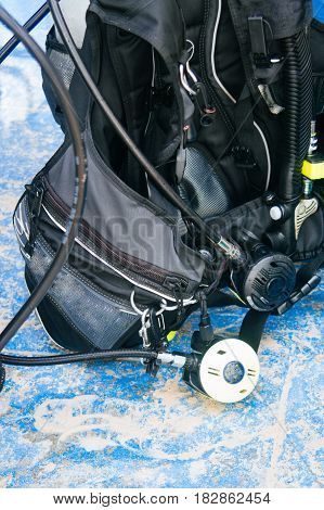 Scuba diving equipment , tank and regulator