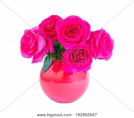 Pink roses in vase isolated on white background