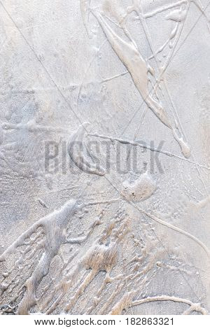 Grunge Abstract Grey Textured Canvas With Brush Strokes Closeup