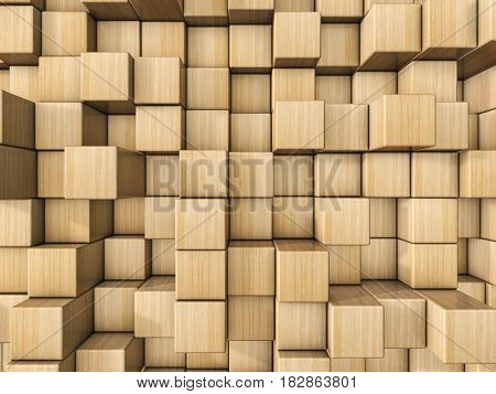 Many wooden cubes for background. 3d illustration.