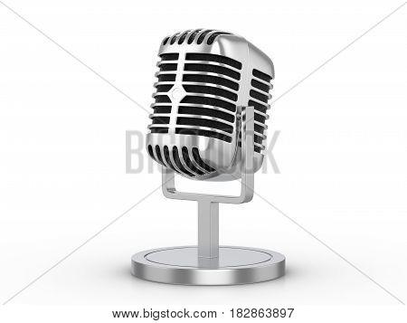Retro Microphone 3D Illustration