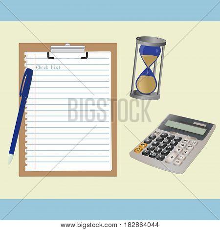 Сalculator image, сlipboard and hourglass on a light background