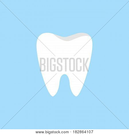 Tooth flat icon, Dental and medicine, vector graphics, a colorful solid pattern on a blue background, eps 10.