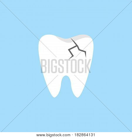 Cracked tooth flat icon, Dental and medicine, vector graphics, a colorful solid pattern on a blue background, eps 10.