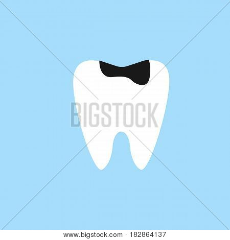 Caries tooth flat icon, Dental and medicine, sick tooth vector graphics, a colorful solid pattern on a blue background, eps 10.