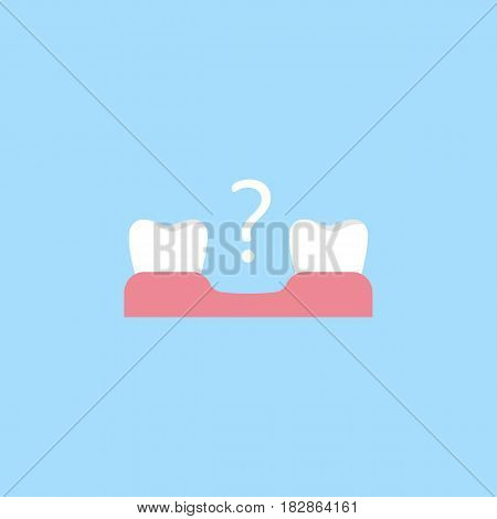 Missing tooth flat icon, Dental and medicine, loose tooth vector graphics, a colorful solid pattern on a blue background, eps 10.