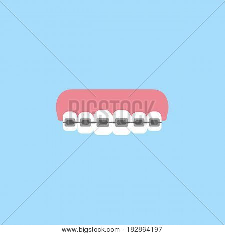 Orthodontic braces flat icon, Dental and medicine, tooth braces vector graphics, a colorful solid pattern on a blue background, eps 10.