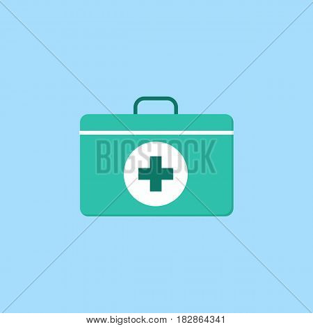 First aid box flat icon, medicine, medical cross sign vector graphics, a colorful solid pattern on a blue background, eps 10.