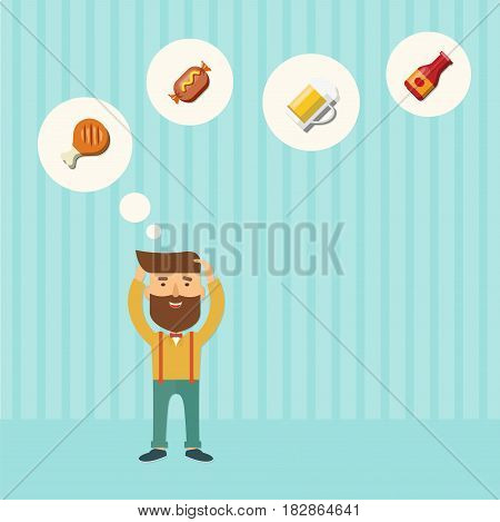 Vector hipster image with food icons on a striped background