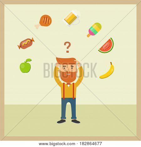 Vector hipster image with food icons on a light background