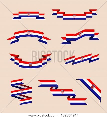 Vector set of scrolled isolated ribbons or banners in colors and with symbols of Croatian flag.
