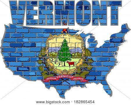 Vermont on a brick wall - Illustration