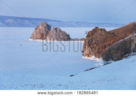 Olkhon Island. Mountain Shamanka. Sunset Landscape. Lake Baikal, Winter