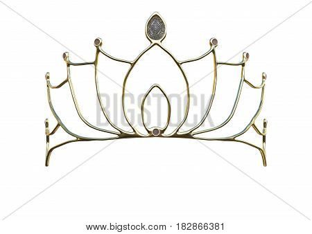 3D Rendering Queen Crown On White