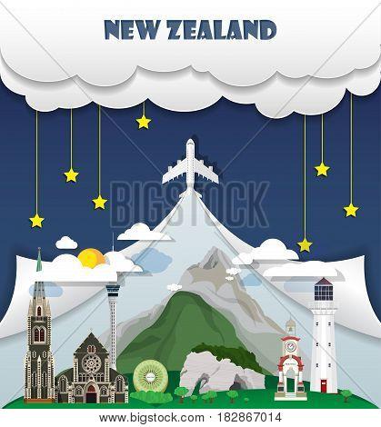 New Zealand Travel Background Landmark Global Travel And Journey Infographic Vector Design Template.