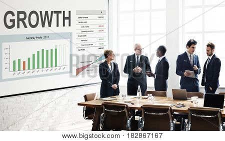 Workers working on white board network graphic overlay