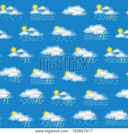 Meteorology Seamless Background, Illustrating Various Natural Weather Phenomena, Cloudy, Rain, Storm. Eps10 Contains Transparencies. Vector