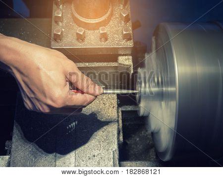 Motion Blur On Process Of Lathe Machine.