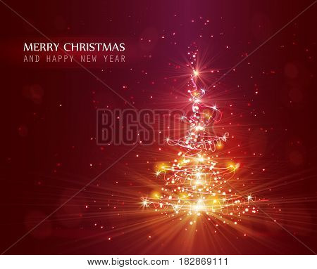Christmas tree with defocused lights. Red vector background