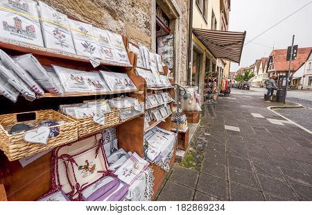 Rothenburg ob der Tauber, Germany - September 2017:  at the lace store in town