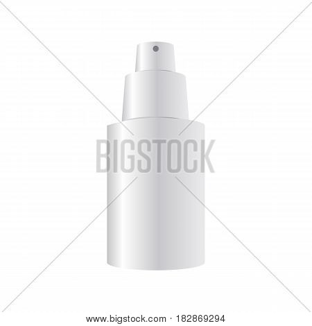 Realistic mock-up of a dispensering bottle for cream, serum, perfume and other cosmetics. Realistic prototype of a plastic bottle with a sprayer. Blank template of a container for cosmetics liquid.