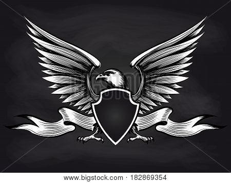 White and black american bald eagle with shield, wings and ribbon on blackboard background. Vector illustration