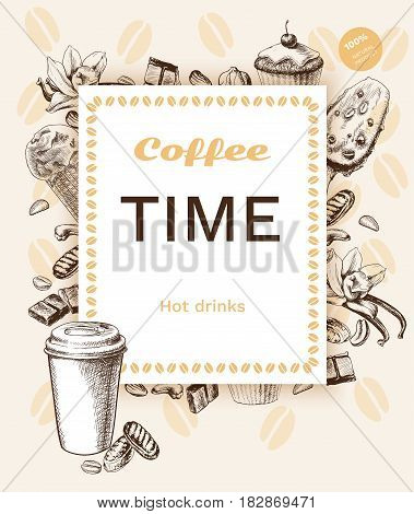 Vintage coffee poster with rectangular frame different ingredients and sweet products in hand drawn style vector illustration