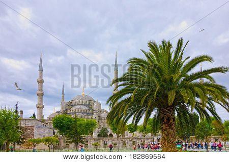 Istanbul, Turkey - Apr 6, 2017: Blue mosque Sultanahmet  in Istanbul, Turkey