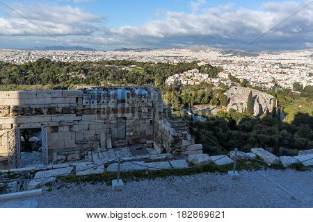 Monumental gateway Propylaea in the Acropolis of Athens, Attica, Greece