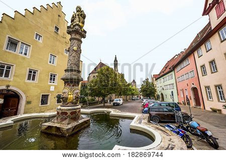 Rothenburg ob der Tauber, Germany - September 2017:  at the town streets