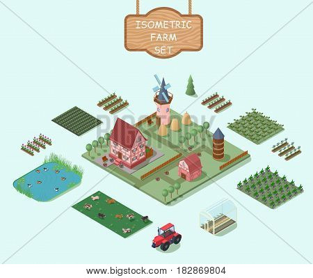Isometric farm elements set with house windmill barn trees fields vegetables flowers animals tractor greenhouse hay stacks isolated vector illustration