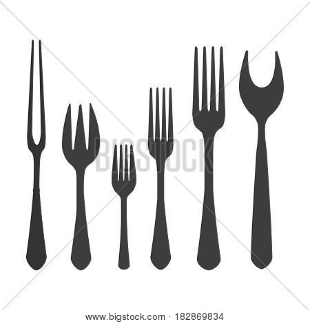 Flat forks set isolated on white background. Vector different forks for kitchen icons